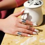 3stk Silber Gold Circle Glaze Joint Finger Ring Masters Sun Damenschmuck