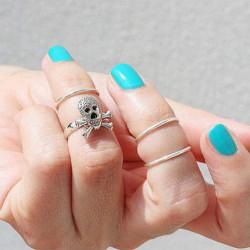 4stk Guld Sølv Skull Knuckle Stacking Mid Fingerringes Set