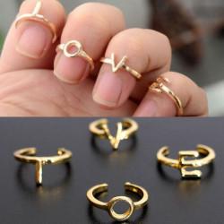 4stk Brief Liebes Stacking Knuckle Mid Finger Ring Gold überzogen