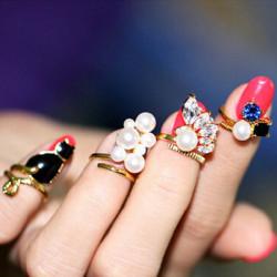 4stk Sort Cat Blå Crystal Pearl Nail Ringe Kvinder Smykker