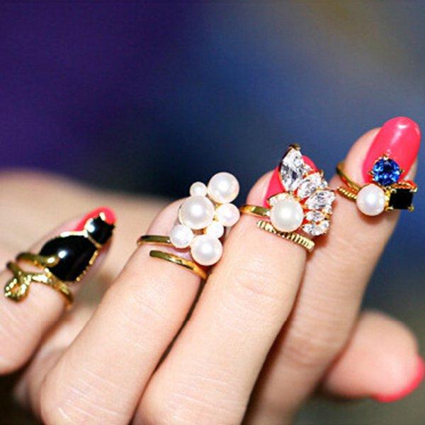 4stk Sort Cat Blå Crystal Pearl Nail Ringe Kvinder Smykker Damesmykker