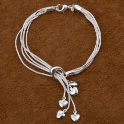 5 Lag Silver Tai Chi Hung Five Hjerte Vedhæng Armbånd Kvinder Smykker
