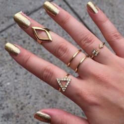 5er Kristall Geometrie Dreieck Stacking Knöchel schellt Set Gold Silber