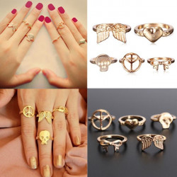 5stk Guld Peace Bowknot Skull Wings Hjerte Stacking Above Knuckle Ringe