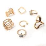 7pcs Gold Punk Rhinestone Clover Star Above Knuckle Rings Set Women Jewelry