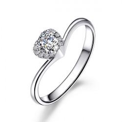 925 Silver Plated Crystal Rhinestone Heart Ring Wedding Jewelry