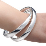 925 Sølv Belagte Cuff Armbånd Dobbelt Intersect Circle Bangle Unisex Fine Smykker