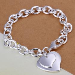 925 Silverpläterad Dubbla Hjärtan Charm Tjock Metall Kedjearmband