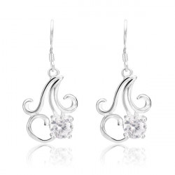 925 Silver Plated Earrings Crystal Chandelier Pendant Ear Drop Jewelry