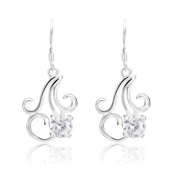 925 Silver Plated Earrings Crystal Chandelier Pendant Ear Drop Jewelry Women Jewelry