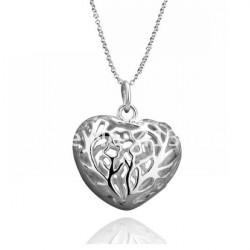 925 Silverpläterade Ihåliga Hjärta Hängsmycke Halsband Kostym Smycken