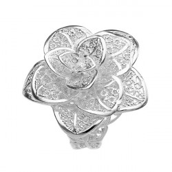 925 Silver Plated Hollow Rose Flower Opening Finger Ring