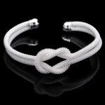 925 Silverpläterad Mesh Knot Cuff Armband Web Bangle för Kvinnor Damsmycken