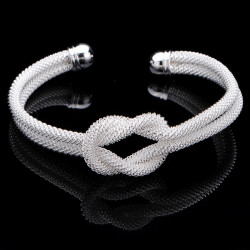925 Silver Plated Mesh Knot Cuff Bracelet Web Bangle For Women