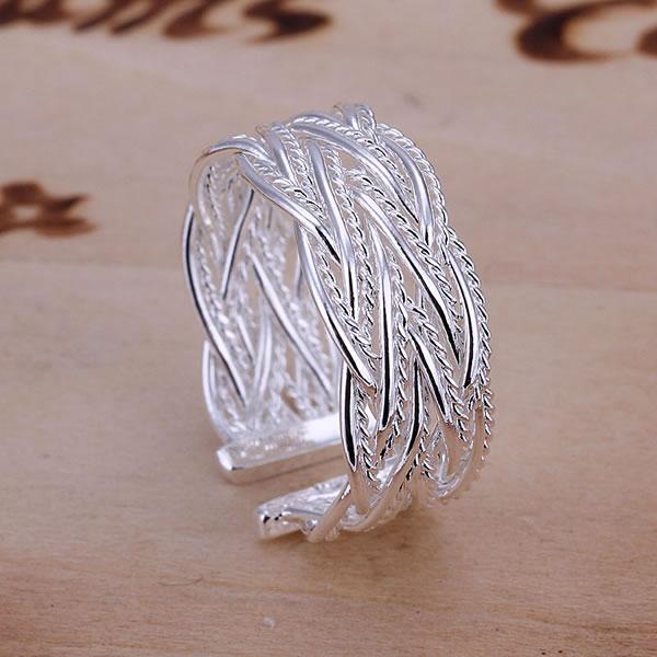 925 Silverpläterad Net Web Weave Ingående Ring Smycken Damsmycken