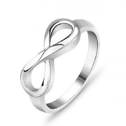 925 Sterling Sølv Infinity Endless Love Symbol Ring Smykker