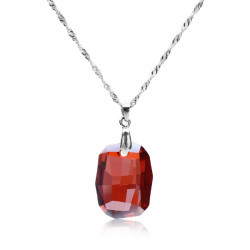 925 Sterling Silver Rhombus Österrikisk Crystal Hängande Halsband