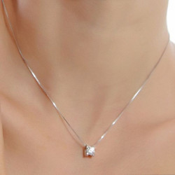 925 Sterlingsilber runde Kristall Cubic Anhänger Halskette für Frauen