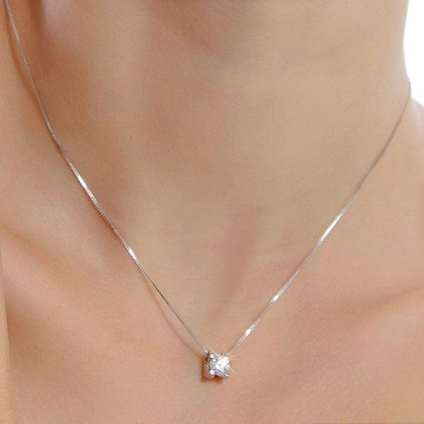 925 Sterling Silver Rund Crystal Cubic Hängsmycke Halsband till Kvinnor Damsmycken