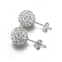 A Pair Shamballa 8MM Classic Crystal Disco Ball Earrings Ear Stud