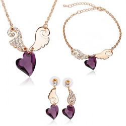 Angel Kärlek Crystal Halsband Örhängen Armband Smycken Set 3st