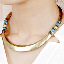 Antike gotische Punkrock Korn Legierungs runde Kragen Halskette