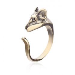 Antik Silver Brons Härlig Liten Mus Ring Animal Ring