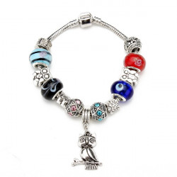 Antique Silver Crystal Murano Glass Beads Owl Charm Bracelet Women