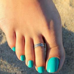 Antikes Silber überzogene justierbare Schnitzen Zehenring Foot Beach Schmuck