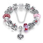 Antik Forsølvet Kæde Dronning Crown Crystal Glass Beads Armbånd Fine Smykker