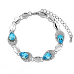 Austrian Crystal Angel Tears Bracelet Bangle 18K Gold Platinum Plated Fine Jewelry