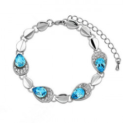 Østrigske Crystal Angel Tears Bracelet Bangle 18K Guld Platinum Plated