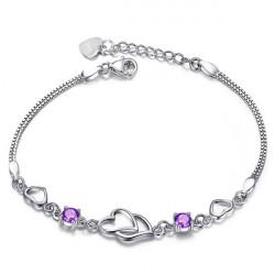 Österrikisk Crystal Zircon Double Hjärta Armband för Kvinnor