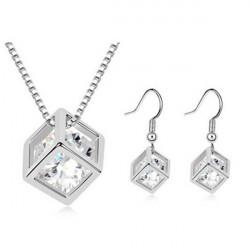Österrikisk Crystal Zircon Square Kub Halsband Örhängen Smycken Set