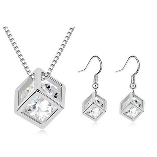 Österrikisk Crystal Zircon Square Kub Halsband Örhängen Smycken Set Fina Smycken
