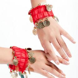 Belly Dance Wrist Ankle Cuffs Guldmynt Pärlor Armband