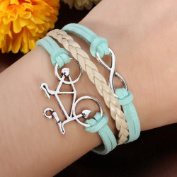 Bicycle Tree 8 Symbol Bracelet Blue Leather Multilayer Bracelet