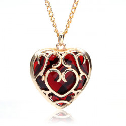Big Red Crystal Heart Shaped Pendant Necklace Gold Plated
