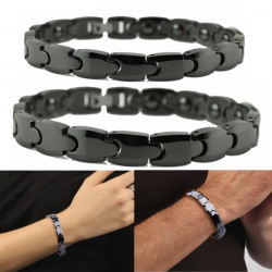 Sort Ceramic Titanium Stål Energy Magnetisk Stone Couple Armbånd
