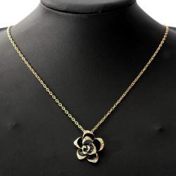 Black Enamel Rose Flower Kæde Vedhæng Halskæde Kvinder Smykker
