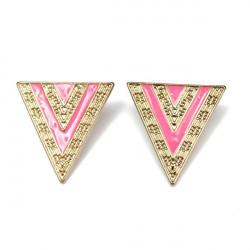 Sort Pink Enamel Alloy Triangle Stud Øreringe til Kvinder