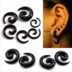 Black White Acrylic Carved Spiral Snail Tapered Ear Plug Ear Expander