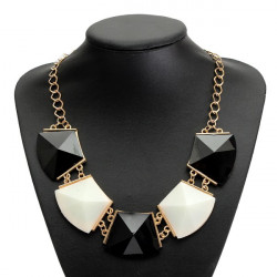 Sort Hvid Geometrisk Akryl Vedhæng Statement Halskæde Kvinder Smykker