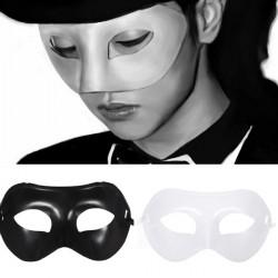 Sort Hvid Plast Venetiansk Masquerade Half Face Eye Mask Unisex