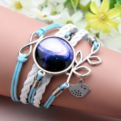 Blue Bird Leaf Infinity Galaxy Time Gem Multilayer Leather Bracelet