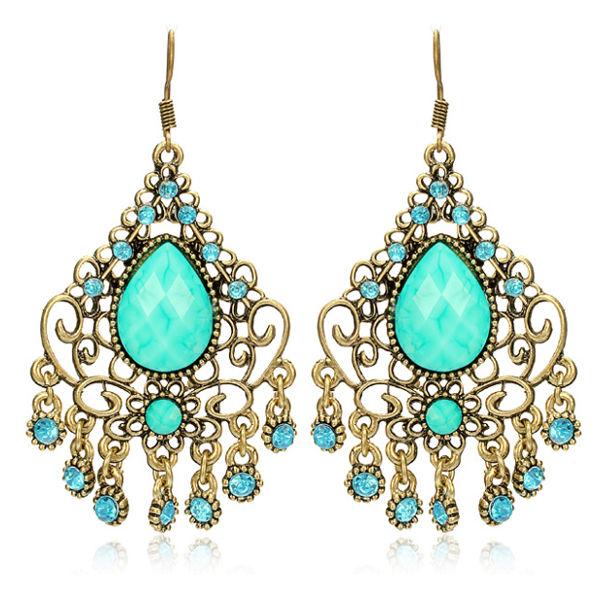 Blue Crystal Acryl ausgehöhlte Quaste Ohrringe Weinlese Damenschmuck