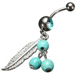 Blue Crystal Pärlor Löv Dangle Belly Navel Ring Piercing Smycken