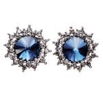 Blue Crystal Rhinestone Stern Ohr Ohrstecker Silber überzogen für Frauen Damenschmuck