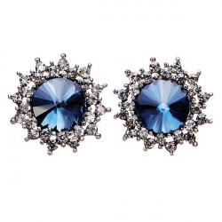 Blue Crystal Rhinestone Stern Ohr Ohrstecker Silber überzogen für Frauen