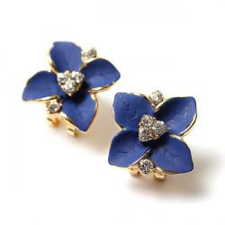 Blau Four Leaf Clover Kristallohrclip Gold überzogene Ohrstecker